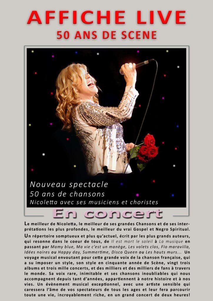 Affiche événement NICOLETTA 50 ans de scène, avec ses musiciens et choristes.